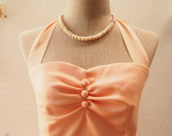 SALE Peach Dress Peach Party Dress Pink Bridesmaid Dress Vintage Halter Dress Wedding Prom Dress -Size S