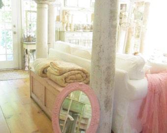 Vintage chippy palest pink mirror ornate  French farmhouse  prairie cottage chic