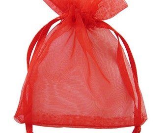 Red Organza Bag - 9cm long, 7cm wide