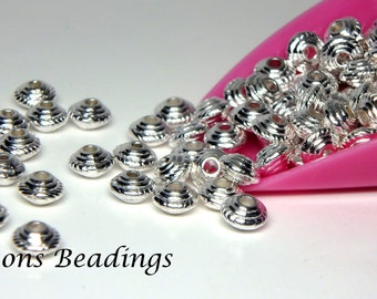 100 5mm Ornate Bright Silver Tone Saucer Spacers - FREE SHIPPING to Canada
