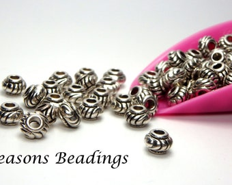 100 6mm Ornate Antique Silver Tone Rondelle Spacers - FREE SHIPPING to Canada