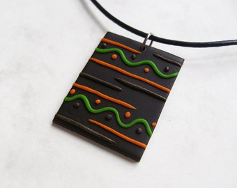 Earth polymer clay pendant