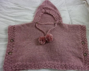 Super cute poncho for baby through toddlers!  Made to order.  Shown in Vintage Rose