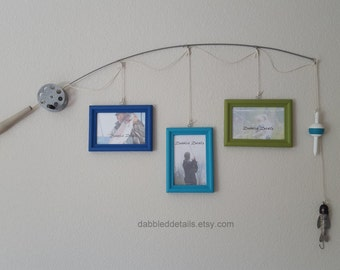 Fishing Pole Picture Frame - Silver Pole - 3 - 4 in x 6 in Picture Frames - Copenhagen Blue, Tahiti, Hauser Lt Green