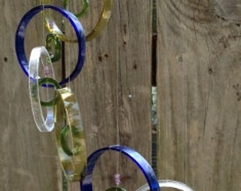 blue, yellow, green GLASS WINDCHIMES from RECYCLED bottles, garden decor, wind chimes, mobiles, musical, windchimes