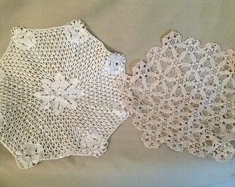 C 1920's - 30's Crochet Doilies/Lace, 2 piece