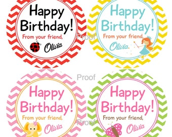 Custom Birthday Sticker Tags - Personalized with Your Child's Name