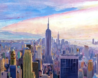 Wide Panorama of Manhattan with New Jersey and Brooklyn - Limited Edition Fine Art Print
