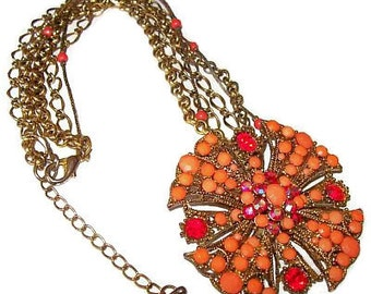 """Maltese Cross Pendant Necklace Coral & Red Rhinestones Gold Metal Triple Chains 16"""" Vintage"""