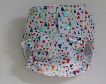 Multi Colored Triangle PUL Lined Water Resistant Diaper Cover Available in Small, Medium, and Large