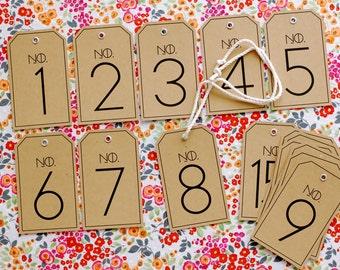 Modern Vintage Wedding Table Numbers (15) - Kraft Tags