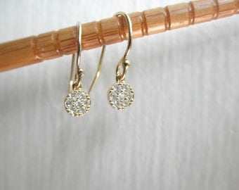 Gold Vermeil  CZ  charm dangle earrings - 14K  gold-filled earwires - tiny zirconia earrings - tiny cz dangle earrings - cz coin earrings