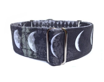 "Moon Phases Dog Collar - 1"" or 1.5"" Grungy Black and Gray Damask Moon Phases and Harlequin Martingale Collar or Buckle Dog Collar"
