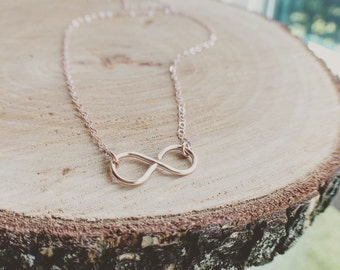 Rose Gold Infinity Necklace - Handmade 14K Rose Gold Filled Infinity Necklace - Handmade By Me - Everyday Jewelry/ Wedding, Bridal Shower