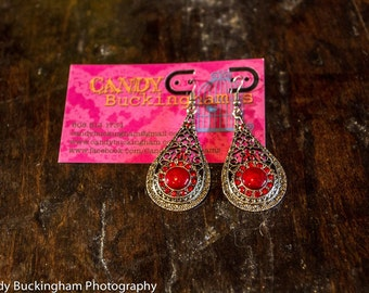 Scarlet Red Vintage Inspired Tear Drop Earring- Bridesmaids wedding special occasion