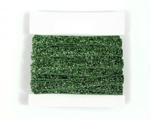 Glitter Elastic, stretch 3/8th inch For Glitter Headbands and Hairties- 5 or 10 yards - Green