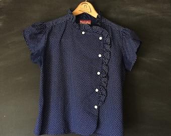 Vintage Cheri-Alan Blue & white Polka dot ruffle blouse