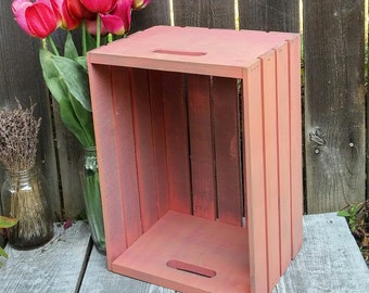 Coral Pink Rustic Wood Crate, Painted Shabby Chic Storage / Organization