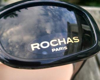 Vintage Rochas 80's Black Classic Sunglasses,Handmade in France, New Old Stock,