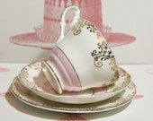 Divine Vintage English Teacup, Saucer And Cake Plate, Marie Antoinette Pink