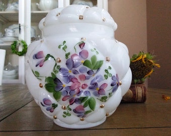 Vintage Consolidated Con Cora Glass Pillow Tufted Quilted Floral Hand Painted Biscuit Jar