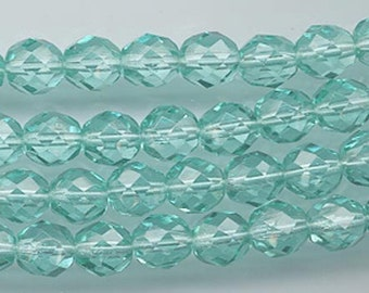 One 16-inch strand (about 50 beads) 8 mm light emerald firepolished beads - 176