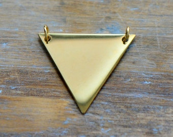 1 - Small Triangle Connector Charm 24k Gold Plated Stainless Steel Triangle Jewelry Pendant (AQ020)