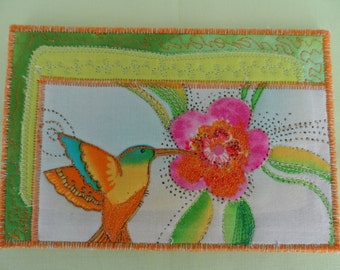 Quilted  Postcard - Laurel Burch Birds - Handmade  Postcard - Fabric  Postcard - Patchwork  - Artist Postcard - Birds Post Card