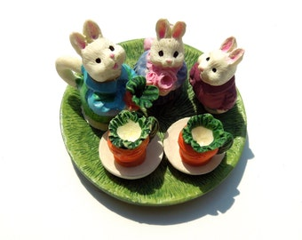 FREE SHIPPING: 1993 - Collectible Miniature Toy Bunny Tea Set in Box - Summco International - New Old Stock - SKU 00003362
