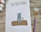 Yule Blessings Wiccan, Pagan Sabbats Greetings Card. Perfect card for everyone - men, women, children. Inspirational, uplifting, whimsical.