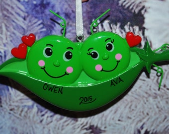 Personalized Two Peas in a Pod Christmas Ornament