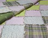 "TWIN Lavender, Purple, Green Rag Quilt Handmade 84"" x 57"" Recycled Fabrics"
