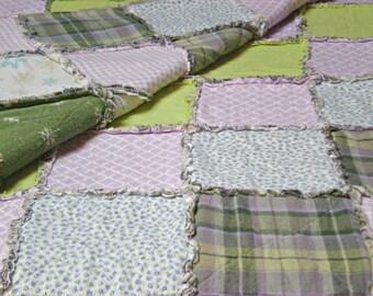 TWIN Lavender, Purple, Green Rag Quilt Handmade Recycled Fabrics