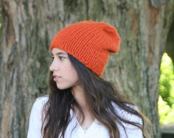 Slouchy Hat Knitted Beanie Winter Hat Simple Slouchy Beanie THE JACE Pumpkin or Choose Your Color