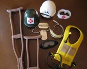 Vintage GI Joe accessory set.  Medical set.  Doll helmets.