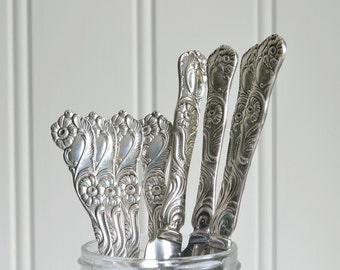 Ornate dinner cutlery, vintage Swedish eight piece flatware set, Nils Johan Sweden, Amsterdam pattern.