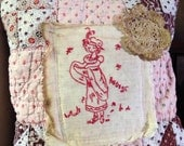 August~Extreme Primitive Olde Quilt Pillow~ Prim vintage Quilt Pillow~ Primitive Madder Brown and Pinks~Fall~ Autumn