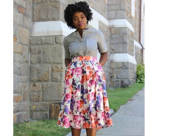 Limited Edition Pink Floral Print Midi Skirt With Pockets