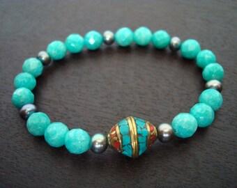 Women's Amazonite Success Mala Bracelet - Russian Amazonite & Pearl Mala Bracelet - Yoga, Buddhist, Prayer Beads, Jewelry