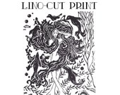 Irish Lino print - 'The Selkie' - original print - Celtic mythological