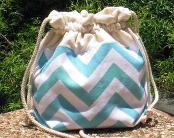 3 in 1 handbag / shoulder bag / crossbody bag ~ Aqua chevron (A22)