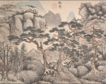 Chinese Landscape Paintings:  Landscape with Four Pines, c. 1480 by Shen Zhou, c. 1480. Fine Art Reproduction