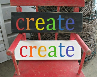 CREATE -- Hand Painted Wooden Shelf Sitter