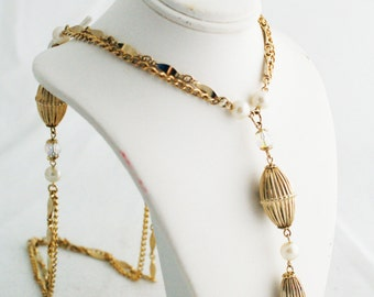 Necklace - Gold Pearl Beaded Tassel Hanging Statement