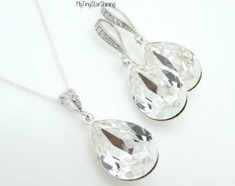 Bridal Earrings White Crystal Earrings  Clear White Earrings and Necklace Wedding Jewelry Teardrop Earrings Bridesmaid gift Wedding Jewelry