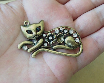 4pcs  Antique bronze cat pendant charm 28mmx50mm