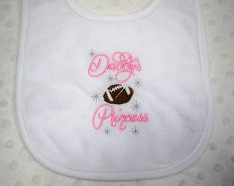 Football Bib - Daddy's Football Princess - Baby Bib - Baby Girl Football Bib Embroidered in Brown and Pink - Baby Girl Football Bib