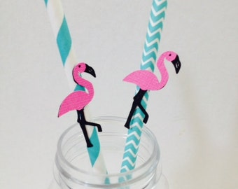 Flamingo Straws ~ Flamingo Decor ~ Aqua & Pink ~ Birthday ~ Shower
