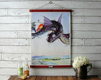 Fairy Tales Chart - The Dragon by Virginia Sterrett /Vintage Pull Down Reproduction /Canvas Fabric or Paper Print /Oak Wood Hanger and Brass