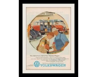 1959 VW Station Wagon Kombi Bus Van Ad, Vintage Volkswagen Adverisement Art Print